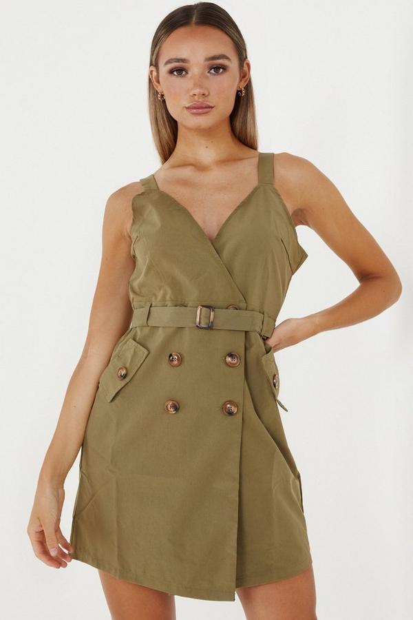 Khaki Utility Wrap Dress