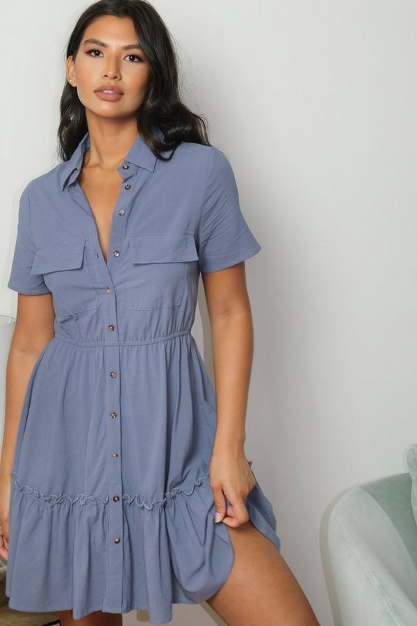 Blue Utility Shirt Dress