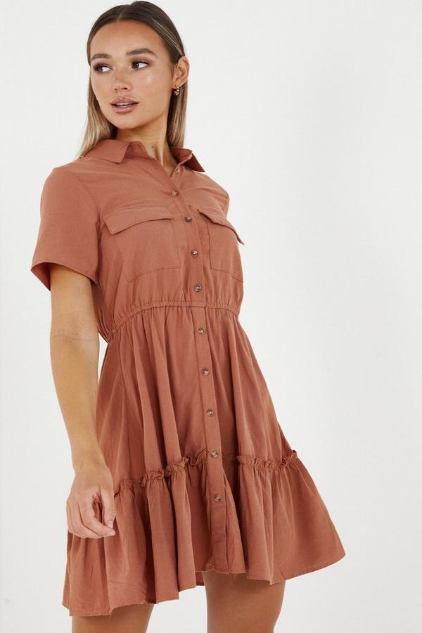 Rust Utility Shirt Dress