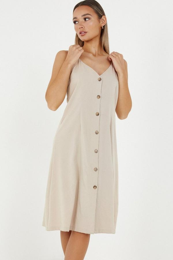 Stone Linen Button Front Midi Dress