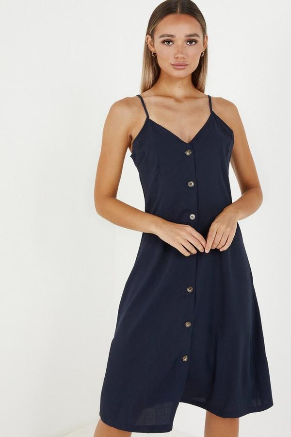 Navy Linen Button Front Midi Dress