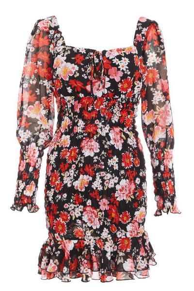 Red Floral Chiffon Bodycon Dress