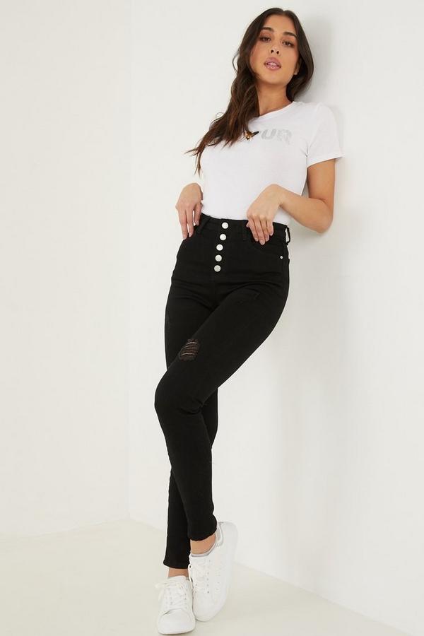Black Denim High Waist Skinny Jeans