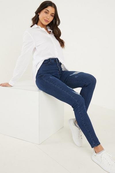 Blue Denim High Waist Skinny Jeans