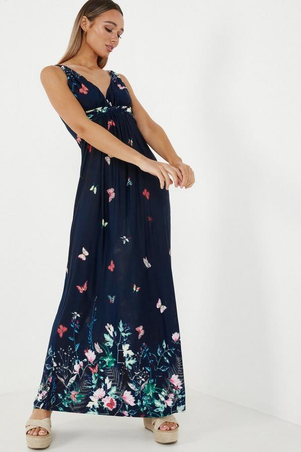Navy V Neck Maxi Dress