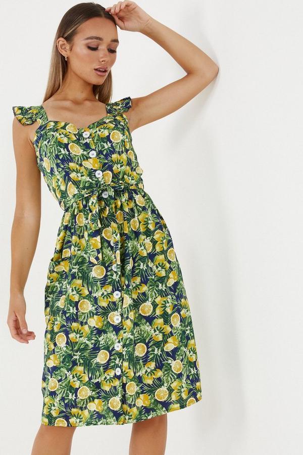 Navy & Yellow Lemon Print Midi Dress