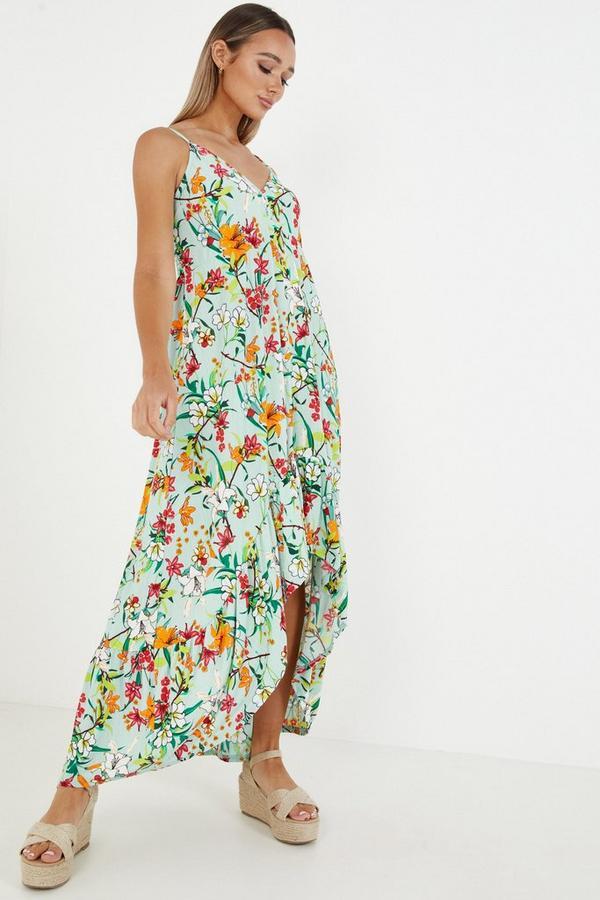 Multicoloured Floral Dip Hem Dress