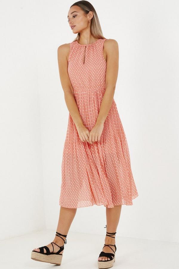 Coral Chiffon Polka Dot Midi Dress