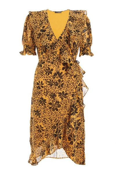 Mustard Floral Chiffon Wrap Midi Dress