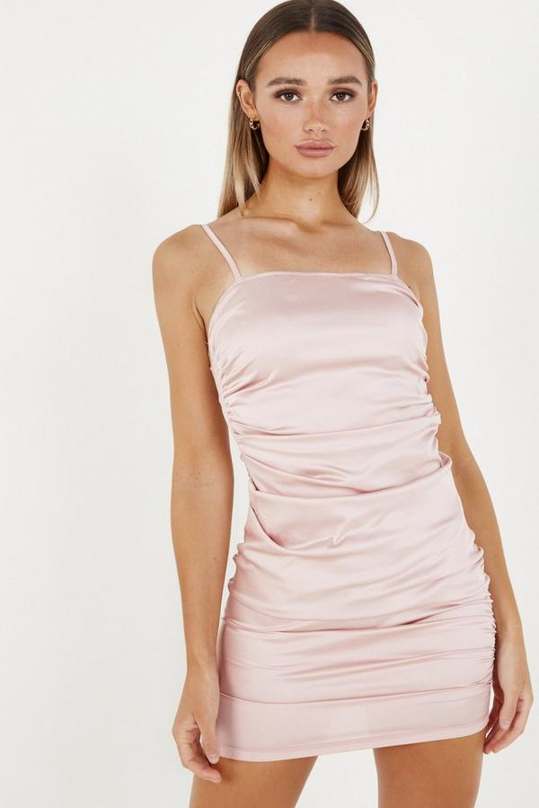 Pink Satin Ruched Bodycon Dress