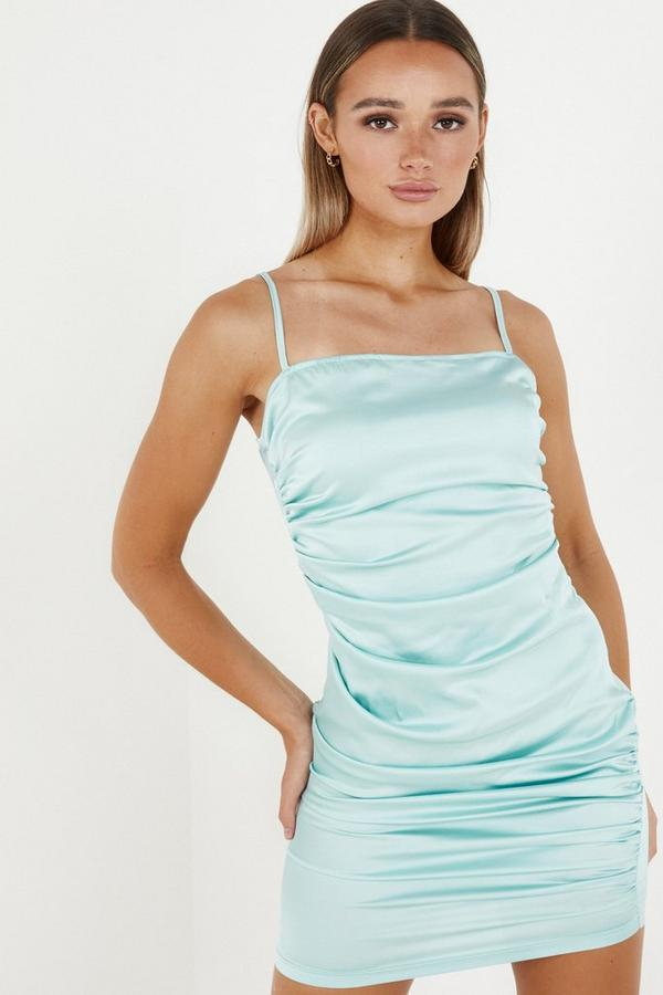 Blue Satin Ruched Bodycon Dress