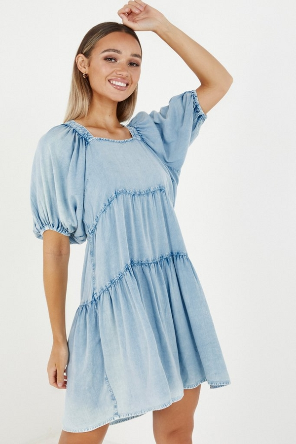 Blue Chambray Puff Sleeve Smock Dress