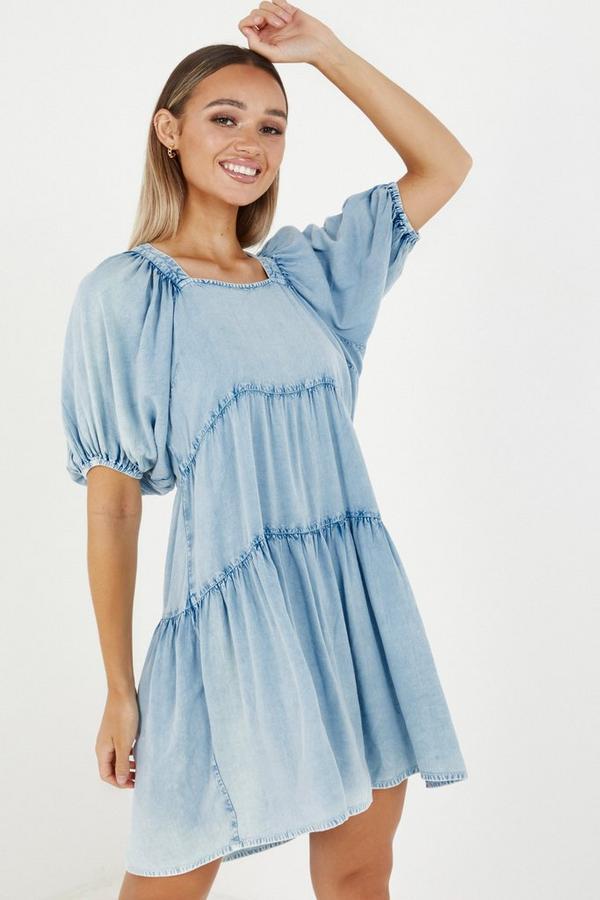 Blue Chambray Puff Sleeve Smock Dress