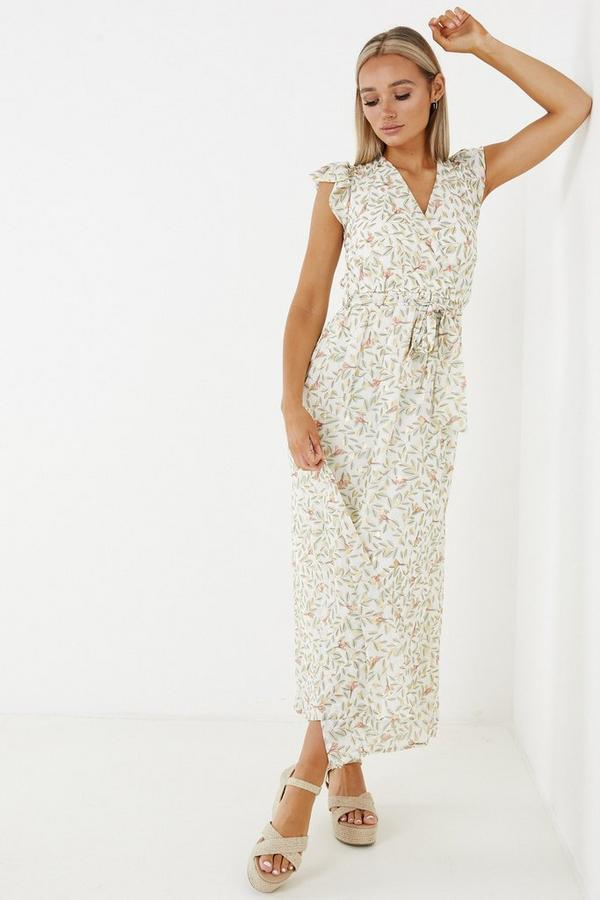 Cream & Sage Floral Chiffon Maxi Dress