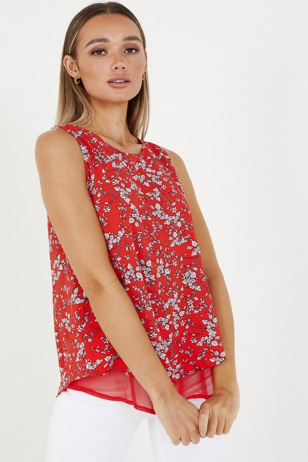 Red Floral Double Layer Top