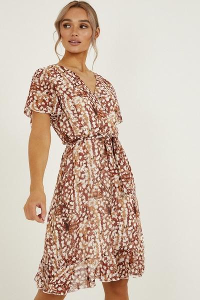 Rust Smudge Spot Print Wrap Midi Dress