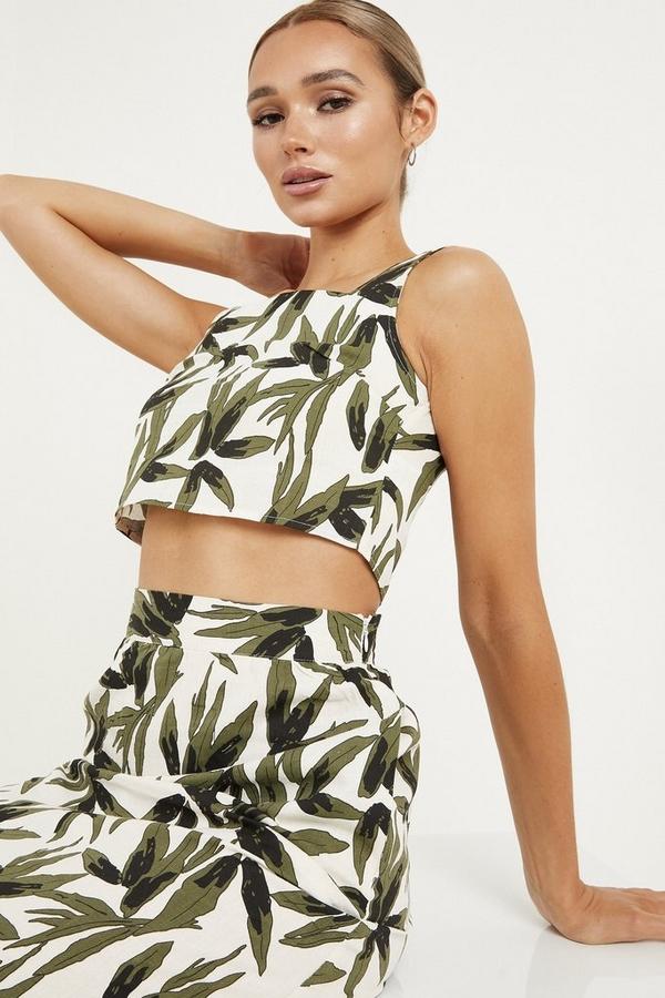 Khaki Tropical Print Crop Top