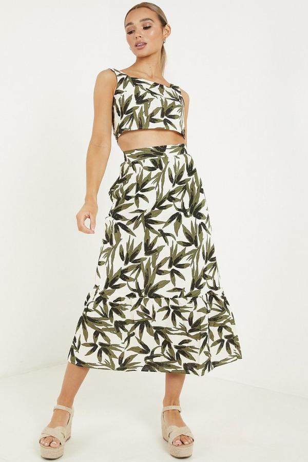 Khaki Tropical Print Midi Skirt