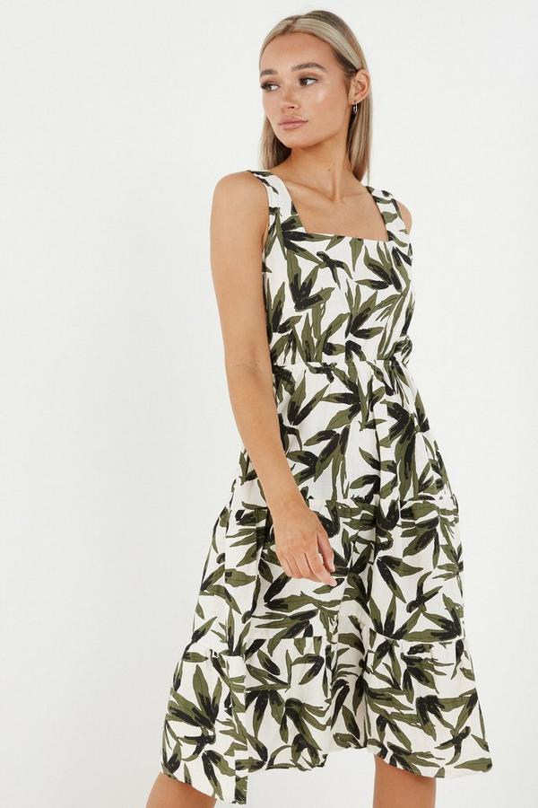 Khaki Tropical Print Midi Dress