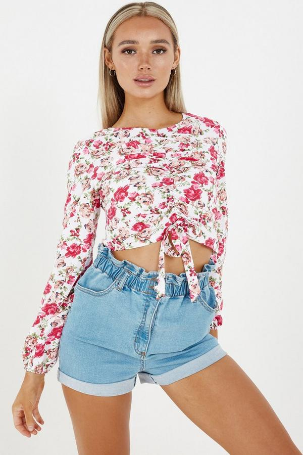 White & Pink Floral Tie Front Crop Top