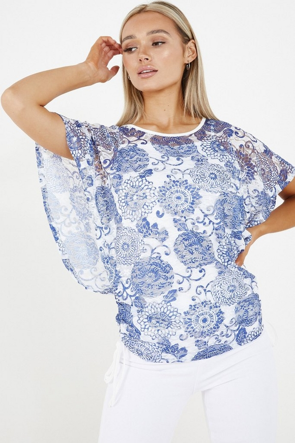 Blue & White Floral Drawstring Top