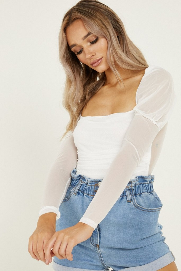 White Mesh Puff Sleeve Bodysuit