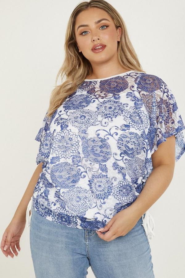 Curve Blue & White Floral Top