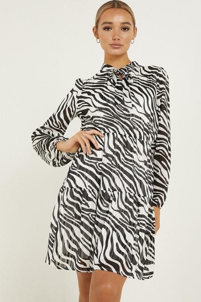 Black Chiffon Zebra Print Skater Dress