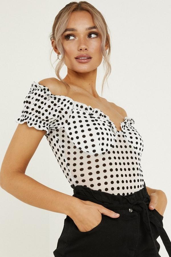 White Mesh Polka Dot Bardot Bodysuit