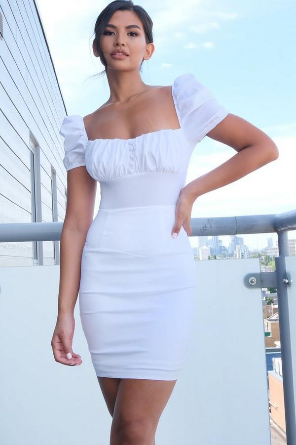 White Puff Sleeve Bodycon Dress