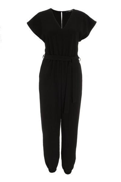 Black V Neck Batwing Jumpsuit