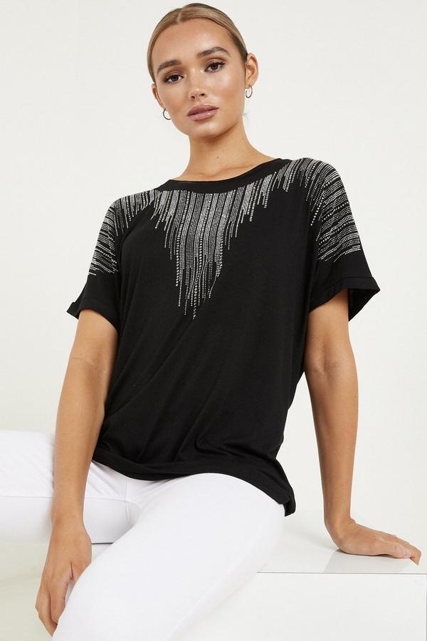 Black Diamante Embellished Top