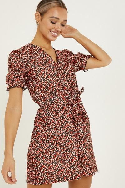 Red Leopard Print Wrap Skater Dress