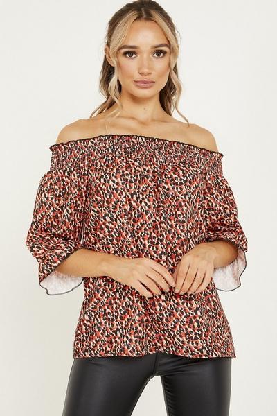 Red Leopard Print Bardot Top