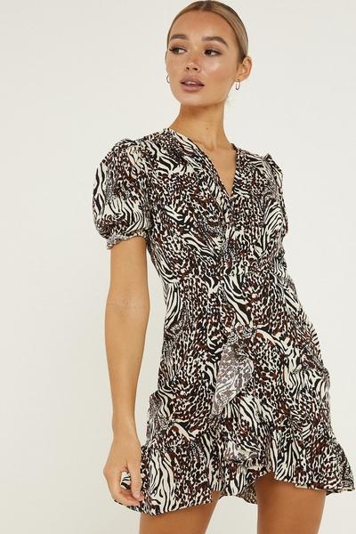 White & Black Animal Print Wrap Dress