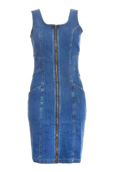 Blue Denim Zip Front Bodycon Dress