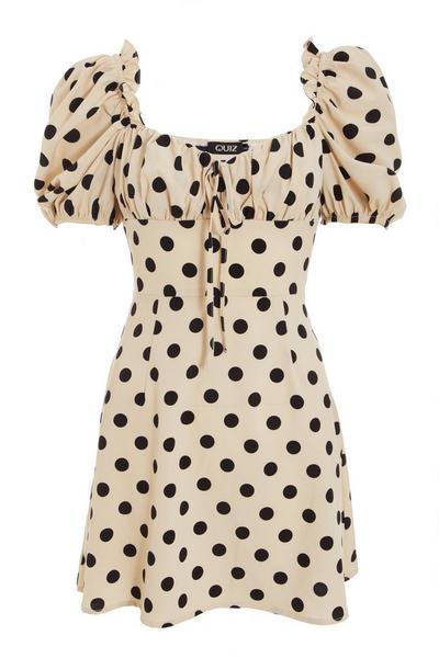 Stone Polka Dot Puff Sleeve Dress