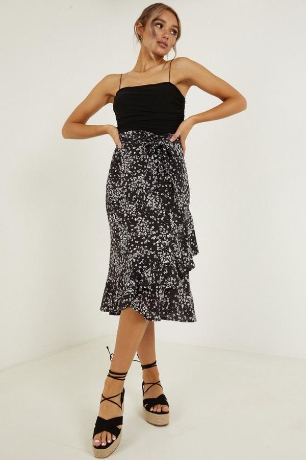 Black & White Floral Print Skirt