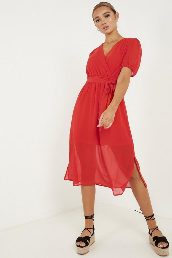 Red Chiffon Puff Sleeve Midi Dress