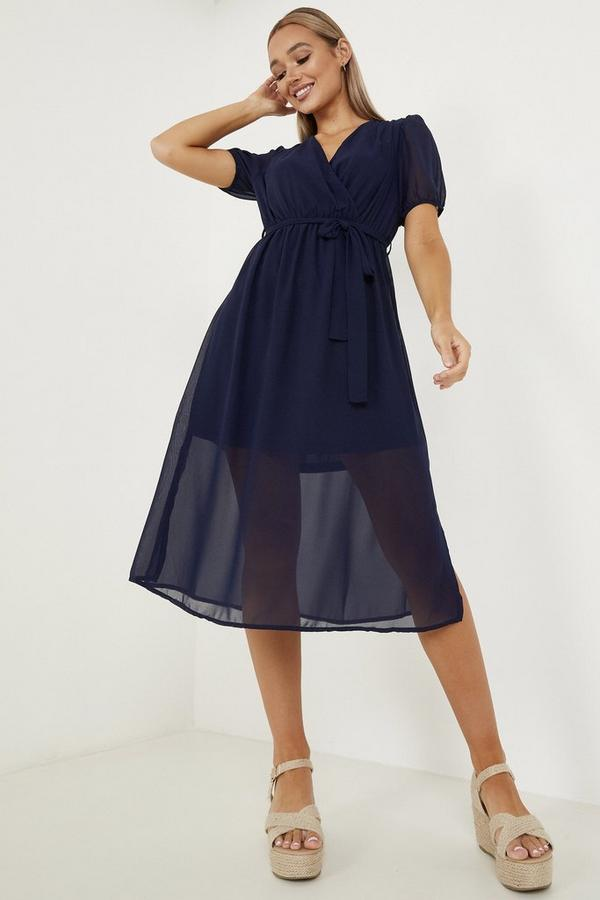 Navy Chiffon Puff Sleeve Midi Dress