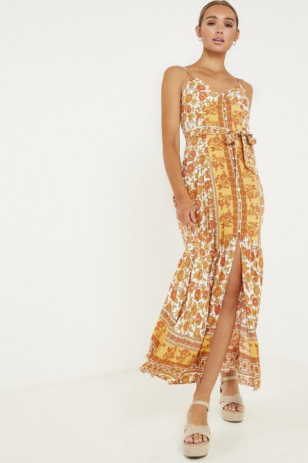 Orange Floral Strappy Maxi Dress