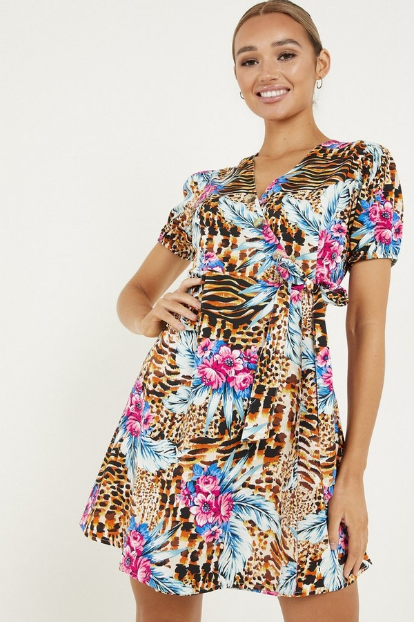 Multicoloured Floral Print Wrap Skater Dress