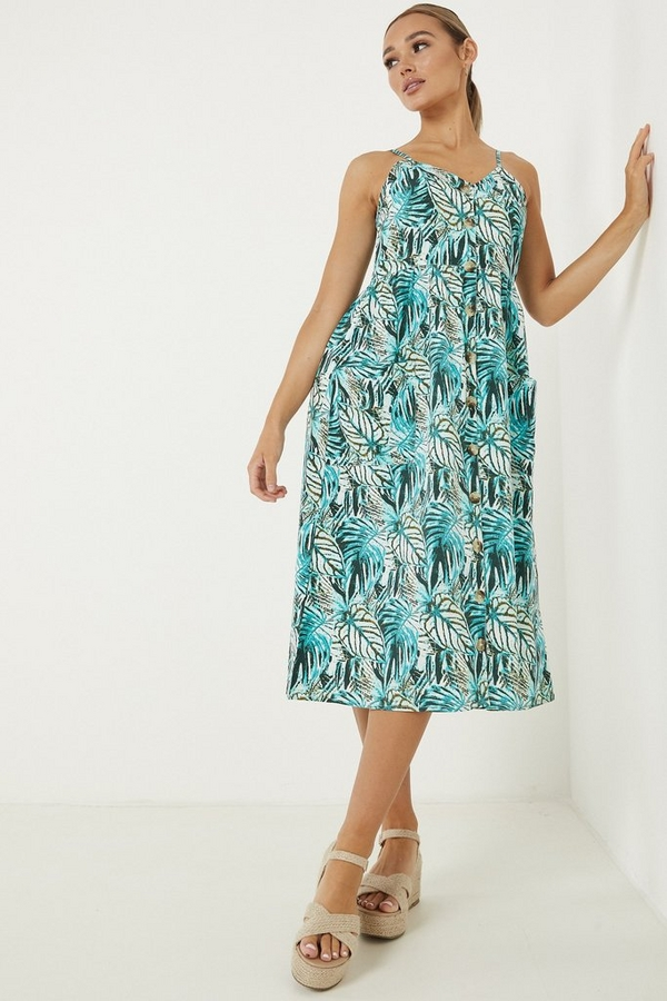 Aqua Tropical Print Midi Dress