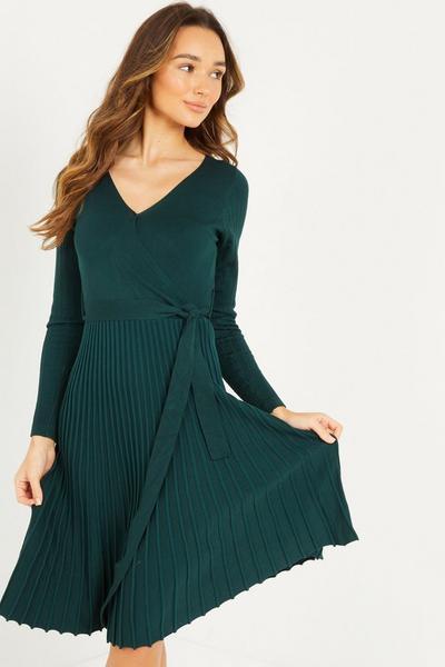 Bottle Green Knitted Pleat Midi Dress