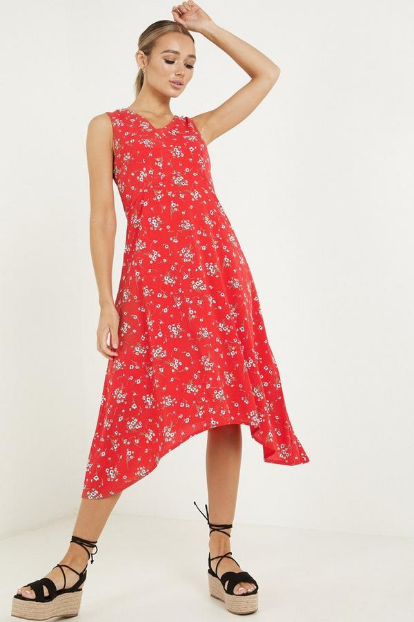 Red Chiffon Floral Dip Hem Dress
