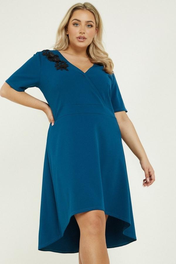 Curve Teal Dip Hem Midi Dress