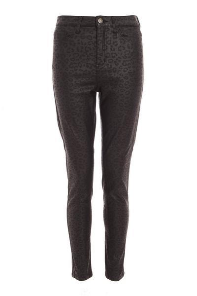 Black Stretch Animal Print Skinny Jeans