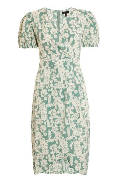 Sage Floral Puff Sleeve Midi Dress