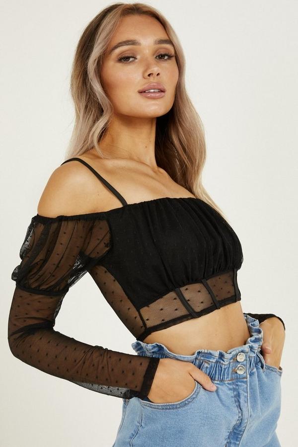 Black Mesh Bardot Crop Top
