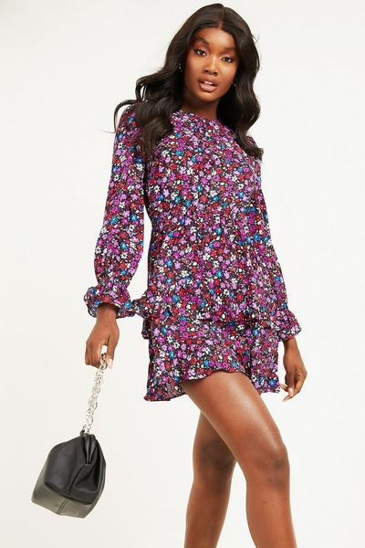 Multicoloured Floral Skater Dress